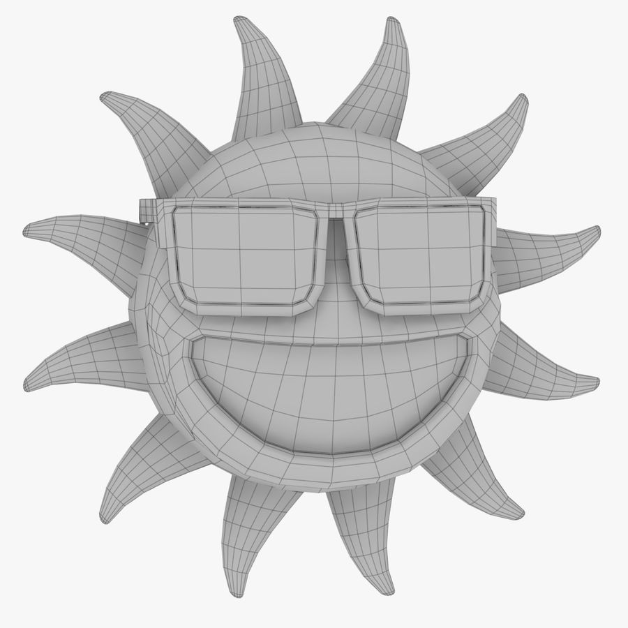 Sun-Cartoon royalty-free 3d model - Preview no. 8