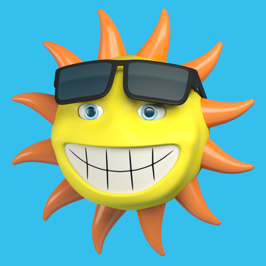 Sun-Cartoon royalty-free 3d model - Preview no. 5