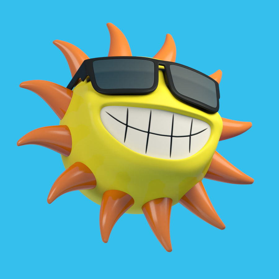 Sun-Cartoon royalty-free 3d model - Preview no. 4