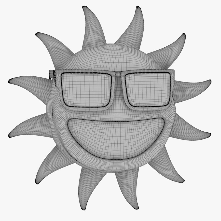 Sun-Cartoon royalty-free 3d model - Preview no. 7