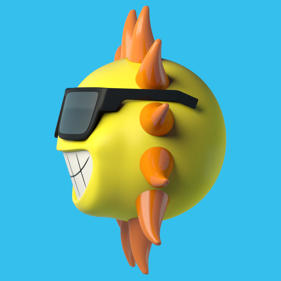 Sun-Cartoon royalty-free 3d model - Preview no. 2
