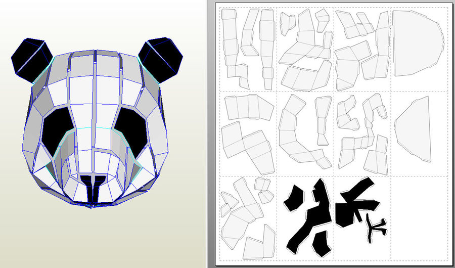 Panda Papercraft royalty-free modelo 3d - Preview no. 7