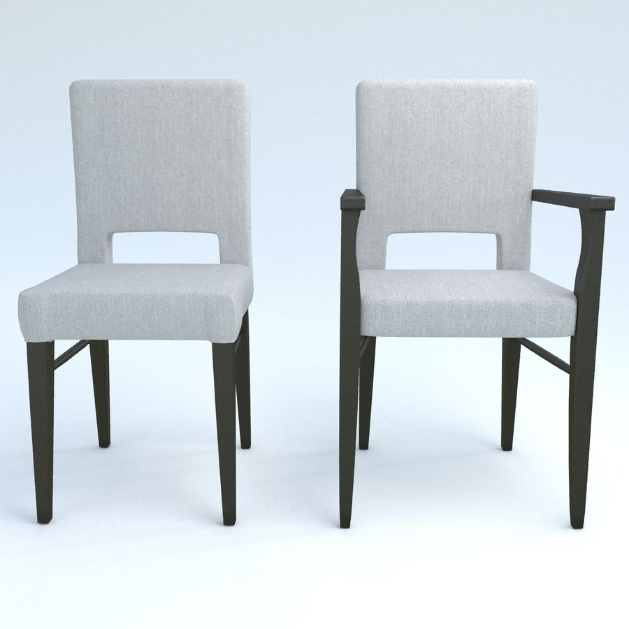 Chaises de salle à manger royalty-free 3d model - Preview no. 4