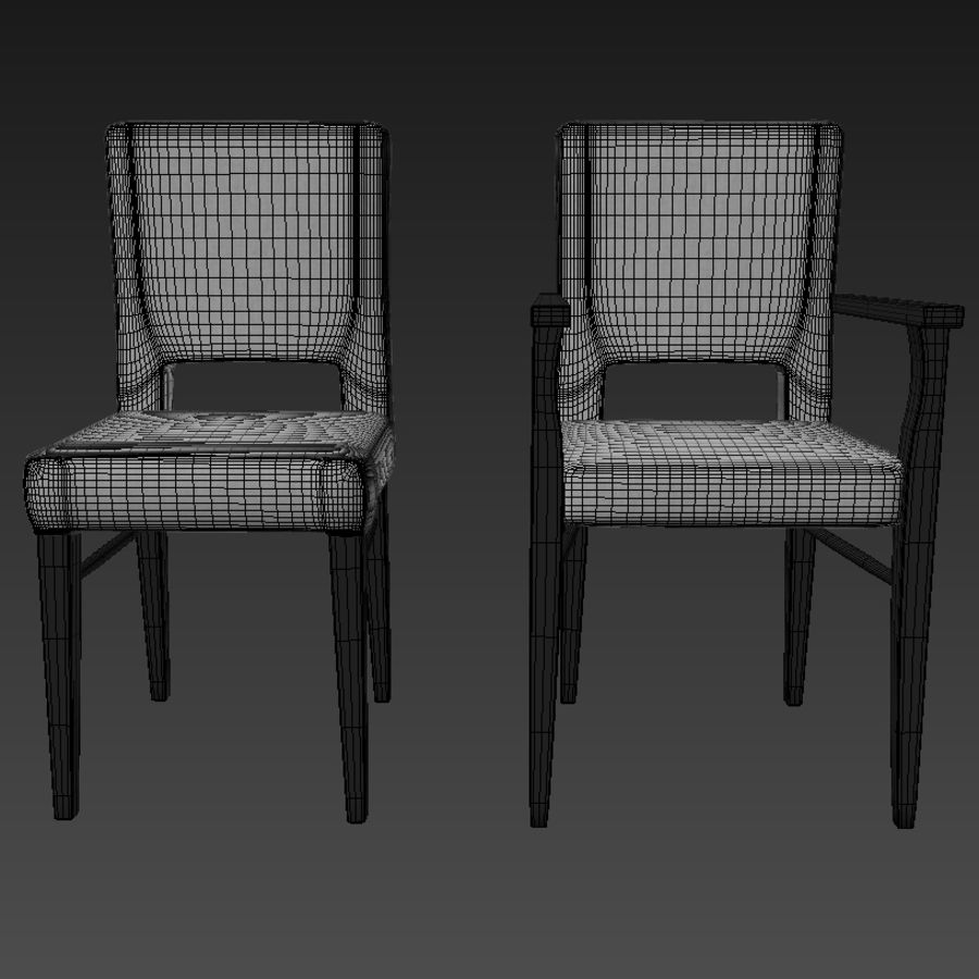 Chaises de salle à manger royalty-free 3d model - Preview no. 5