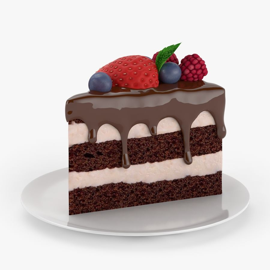 Cake Piece royalty-free 3d model - Preview no. 3