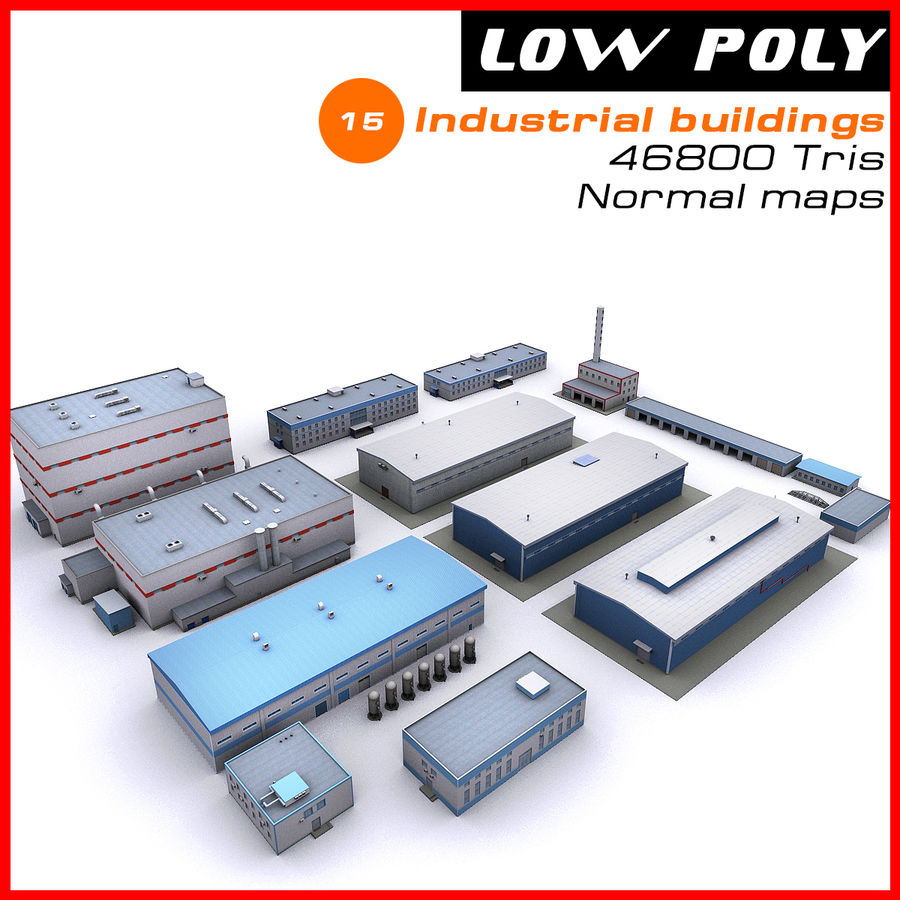 Industrial buildings set 2 royalty-free 3d model - Preview no. 1