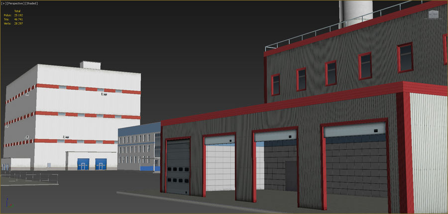Endüstriyel binalar 2 set royalty-free 3d model - Preview no. 13