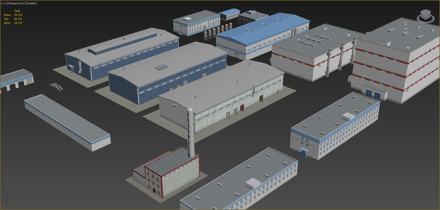 Industrial buildings set 2 royalty-free 3d model - Preview no. 4