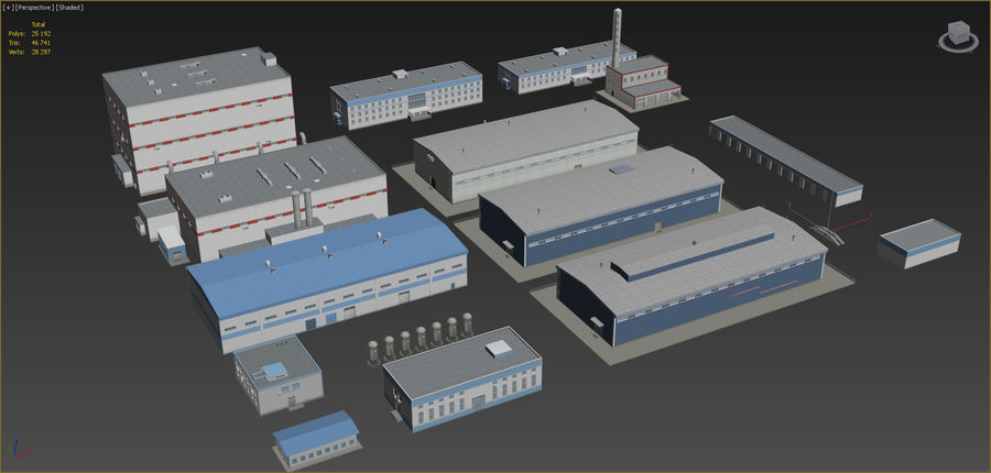 Industrial buildings set 2 royalty-free 3d model - Preview no. 2