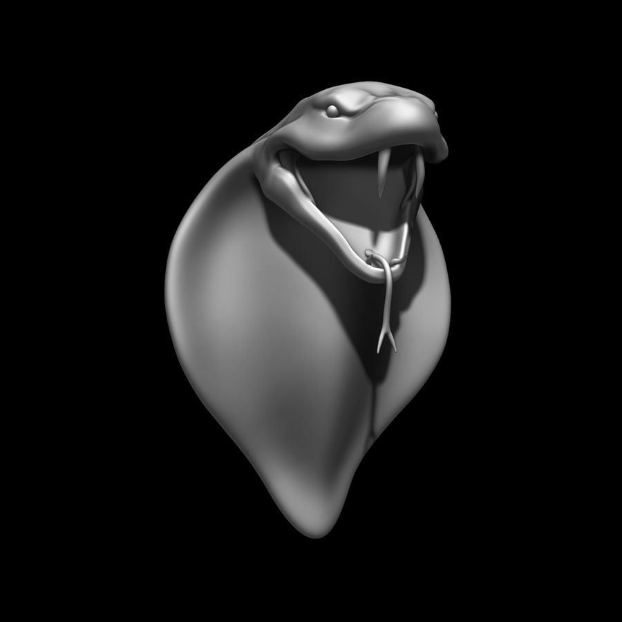 Sculpture tête de serpent royalty-free 3d model - Preview no. 9