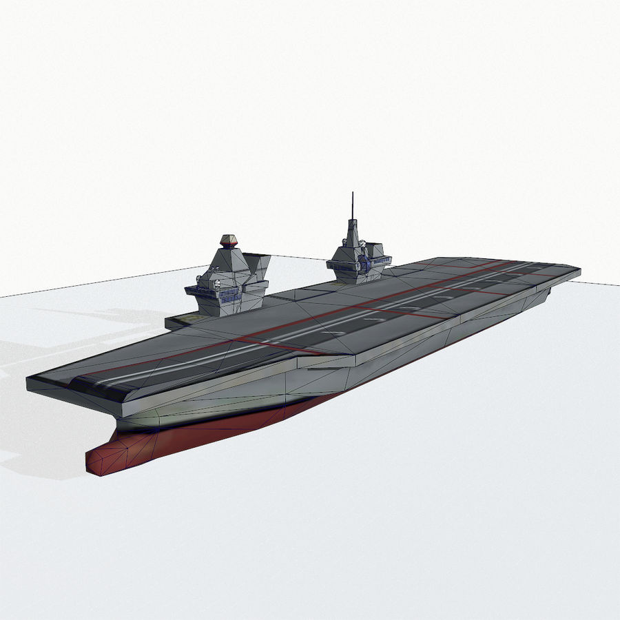Queen-Elizabeth-class aircraft carrier royalty-free 3d model - Preview no. 13