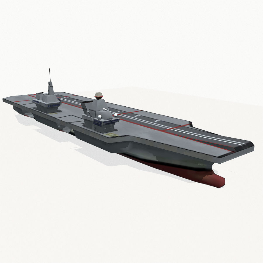 Queen-Elizabeth-class aircraft carrier royalty-free 3d model - Preview no. 4