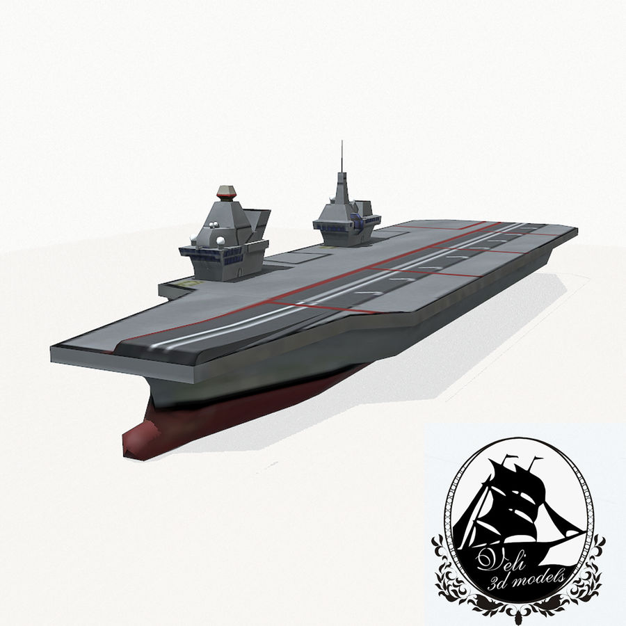 Queen-Elizabeth-class aircraft carrier royalty-free 3d model - Preview no. 1
