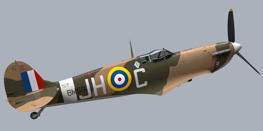 Spitfire Vb royalty-free 3d model - Preview no. 7