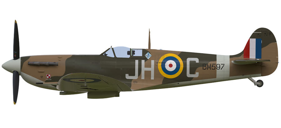 Spitfire Vb royalty-free 3d model - Preview no. 14