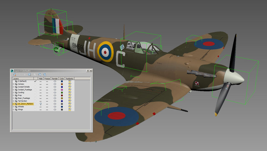 Spitfire Vb royalty-free 3d model - Preview no. 12