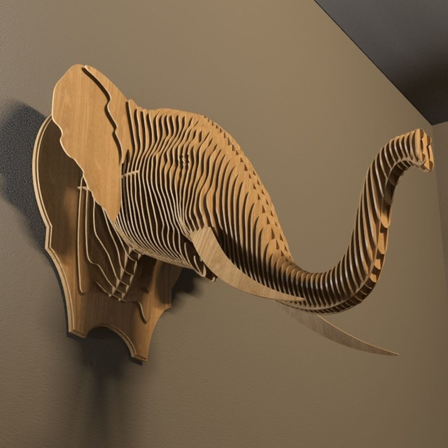 Elephant head royalty-free 3d model - Preview no. 4