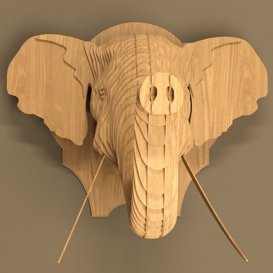 Elephant head royalty-free 3d model - Preview no. 2