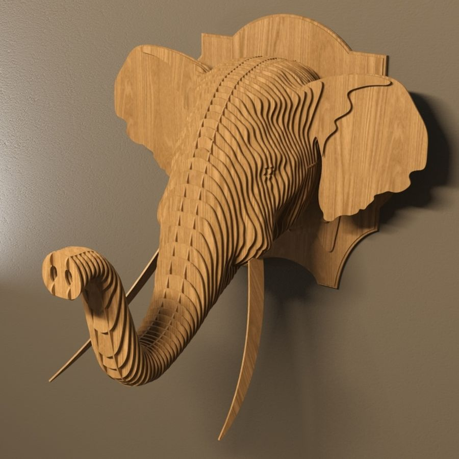 Elephant head royalty-free 3d model - Preview no. 3