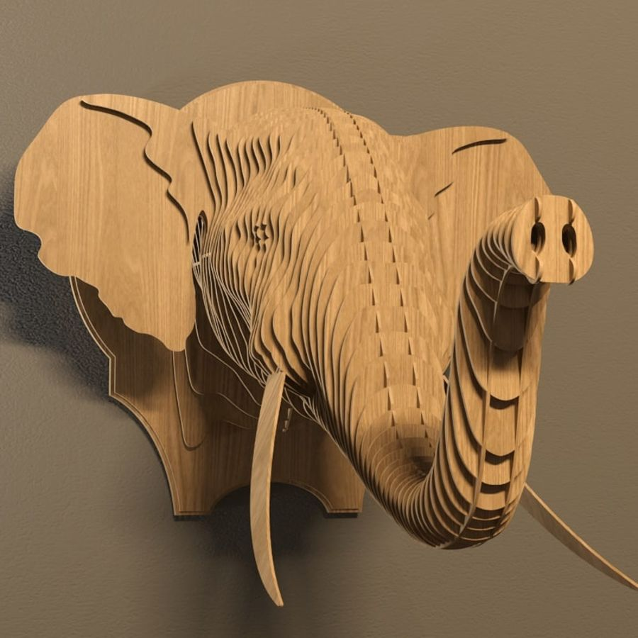 Elephant head royalty-free 3d model - Preview no. 1