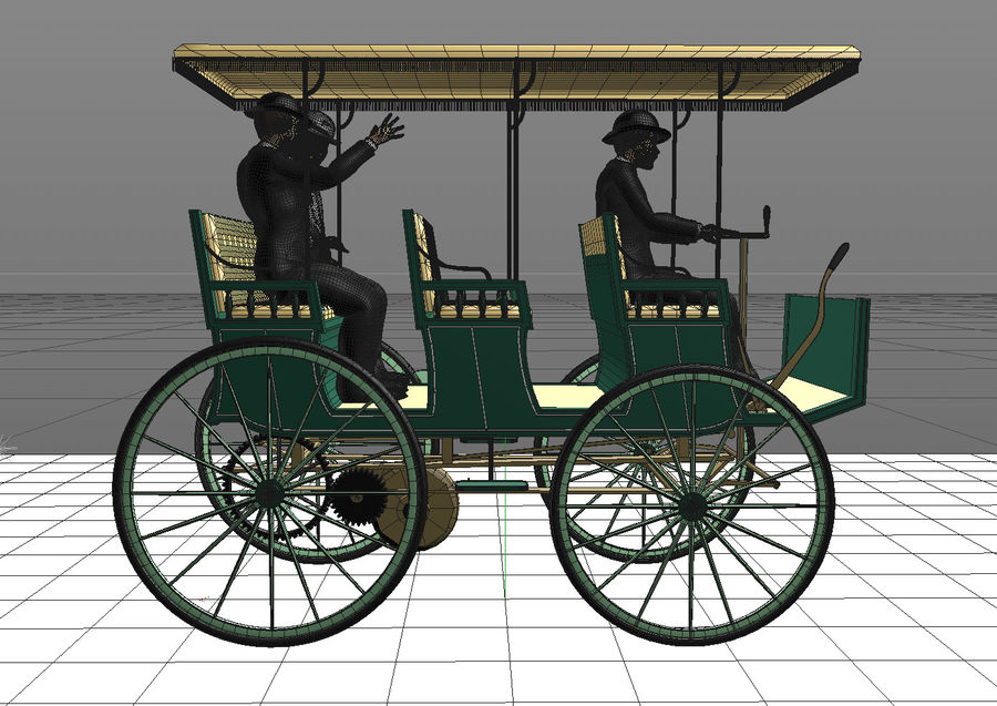 Vintage electric car royalty-free 3d model - Preview no. 5