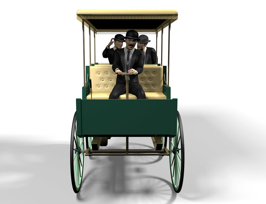 Vintage electric car royalty-free 3d model - Preview no. 3