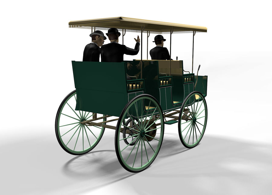 Vintage electric car royalty-free 3d model - Preview no. 4