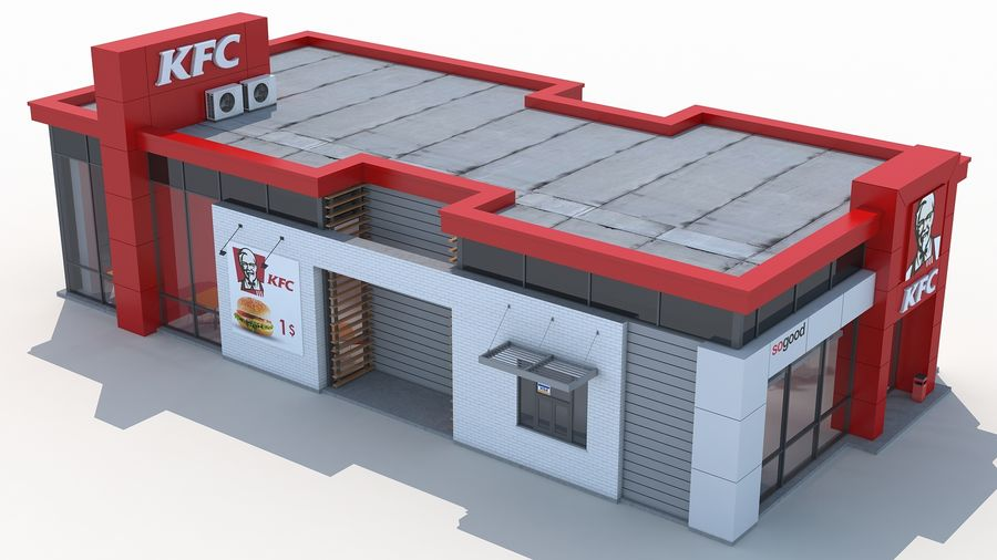 KFC restaurant 3 royalty-free 3d model - Preview no. 6