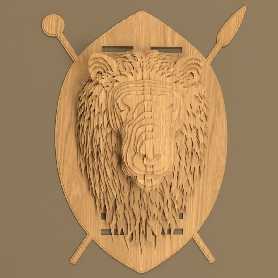 Lion head royalty-free 3d model - Preview no. 2