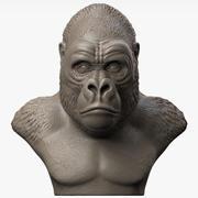 Sculpture De Tête De Gorille 3d model