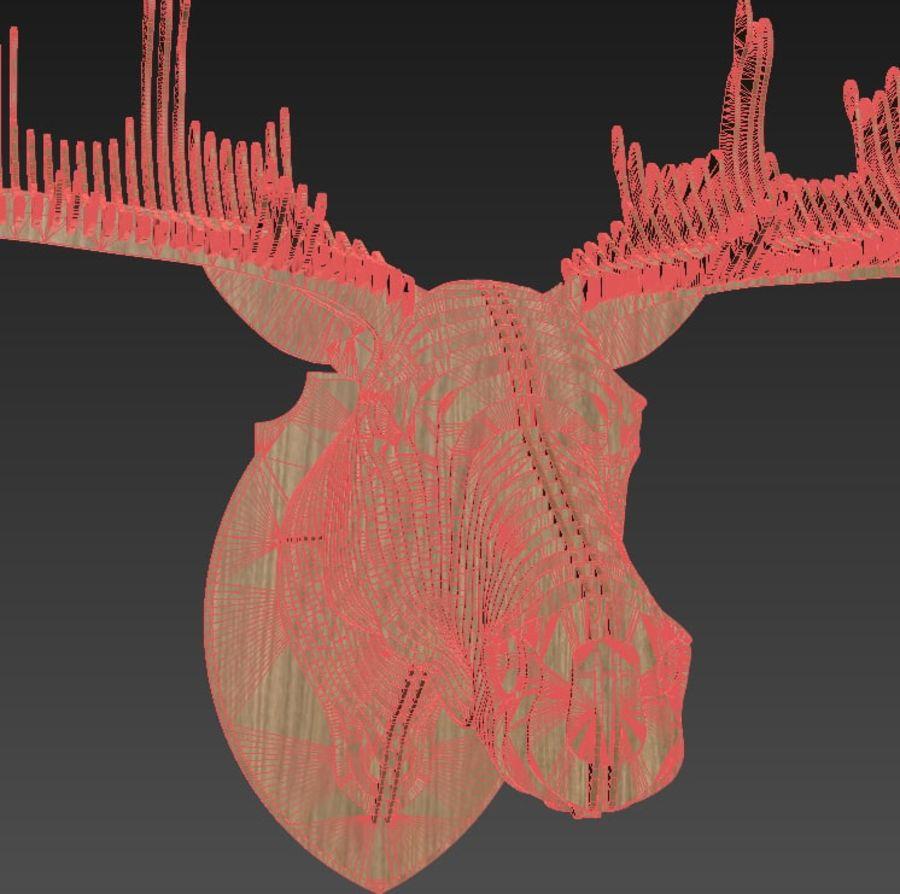Elk head royalty-free 3d model - Preview no. 5