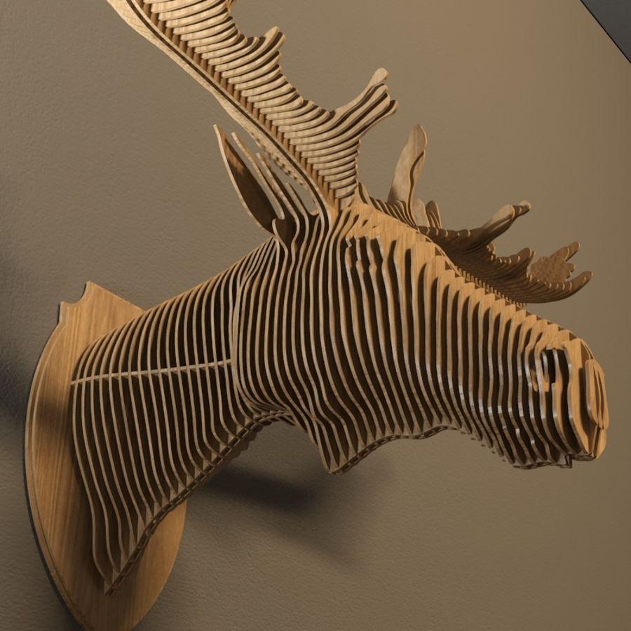 Elk head royalty-free 3d model - Preview no. 3