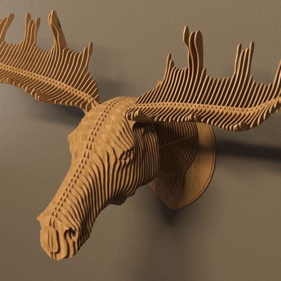 Elk head royalty-free 3d model - Preview no. 4
