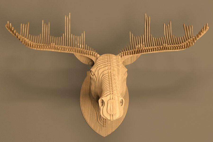 Elk head royalty-free 3d model - Preview no. 2