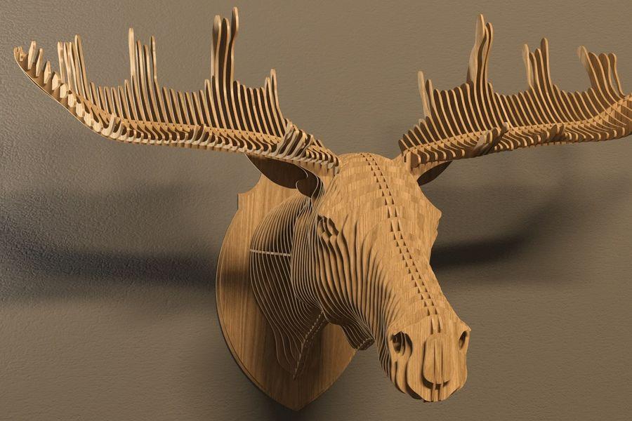 Elk head royalty-free 3d model - Preview no. 1