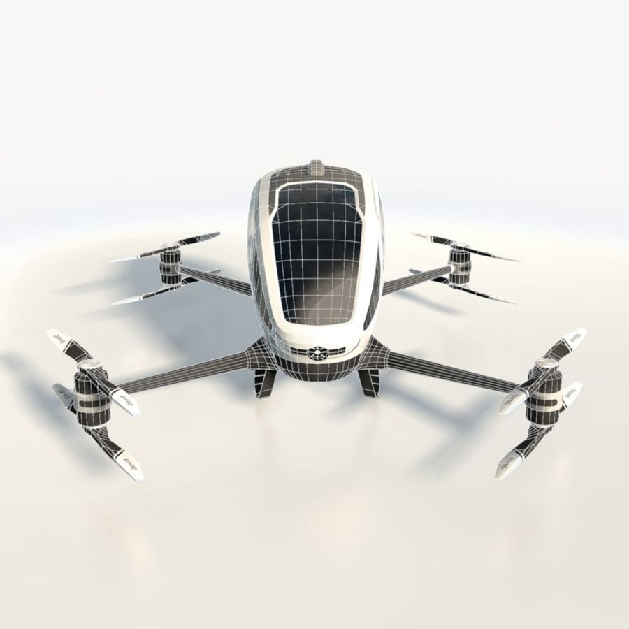 Ehang184 låg poly drone royalty-free 3d model - Preview no. 9