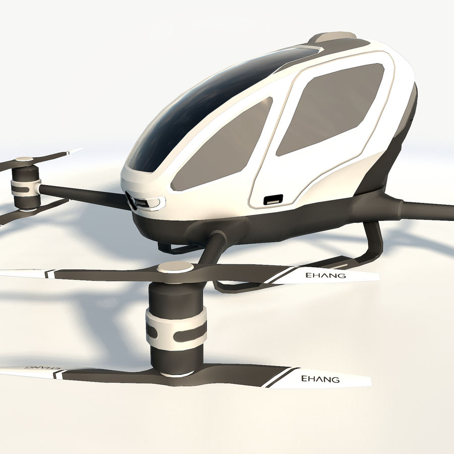 Ehang184 låg poly drone royalty-free 3d model - Preview no. 12