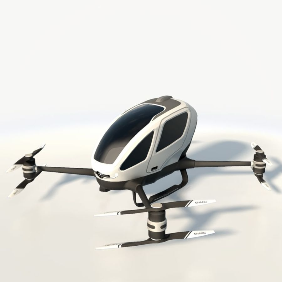 Ehang184 låg poly drone royalty-free 3d model - Preview no. 2