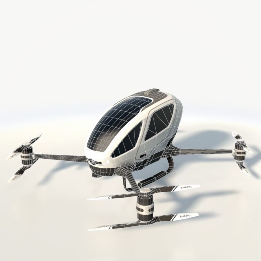 Ehang184 låg poly drone royalty-free 3d model - Preview no. 3