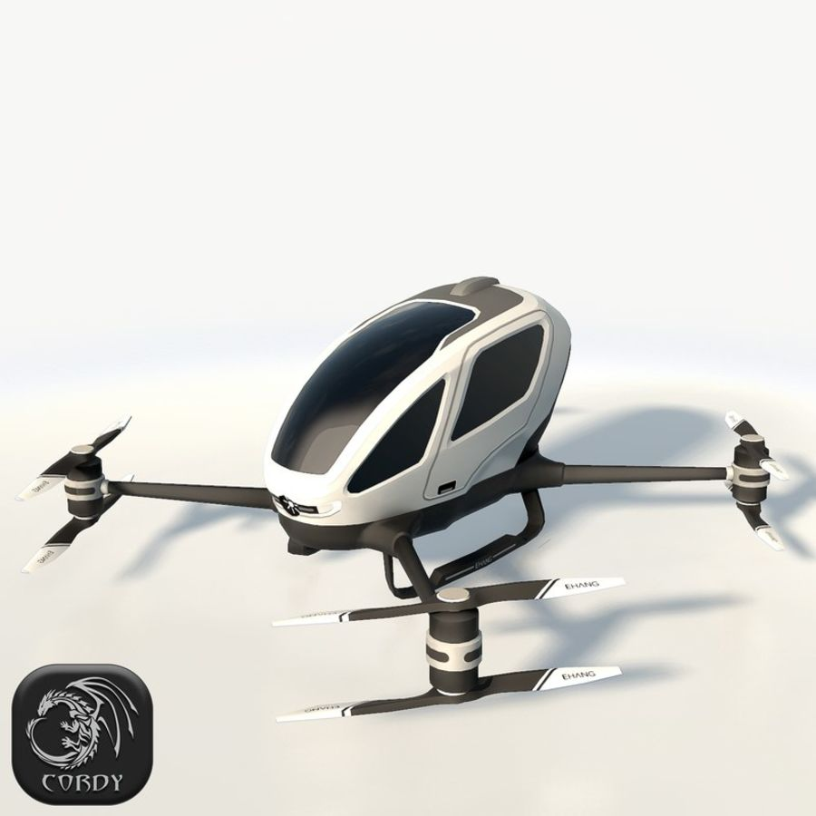 Ehang184 låg poly drone royalty-free 3d model - Preview no. 1