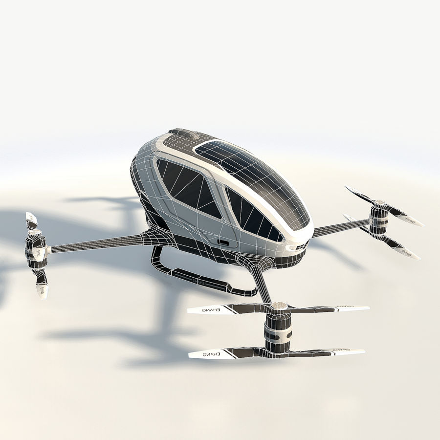 Ehang184 låg poly drone royalty-free 3d model - Preview no. 5