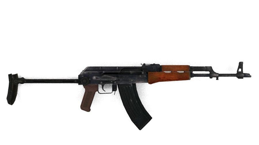 Izhmash AKMS rifle royalty-free 3d model - Preview no. 3