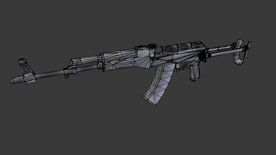 Izhmash AKMS rifle royalty-free 3d model - Preview no. 5