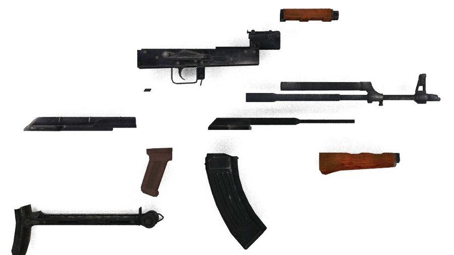 Izhmash AKMS rifle royalty-free 3d model - Preview no. 4