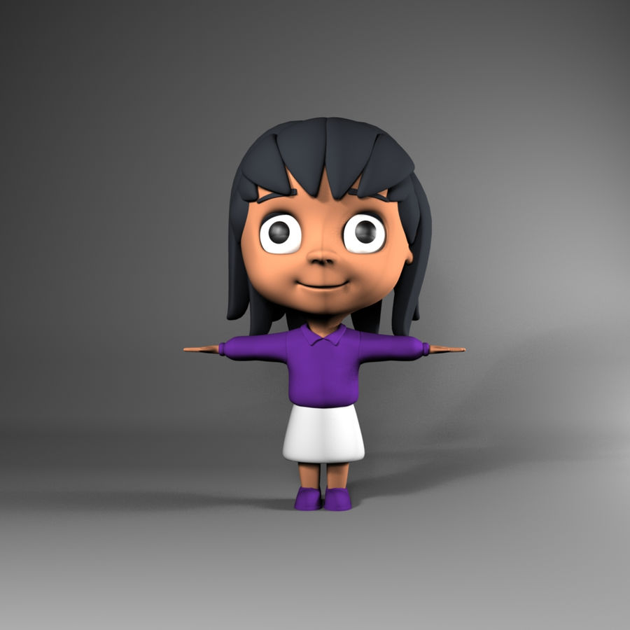 Cartoon cute little girl royalty-free 3d model - Preview no. 1