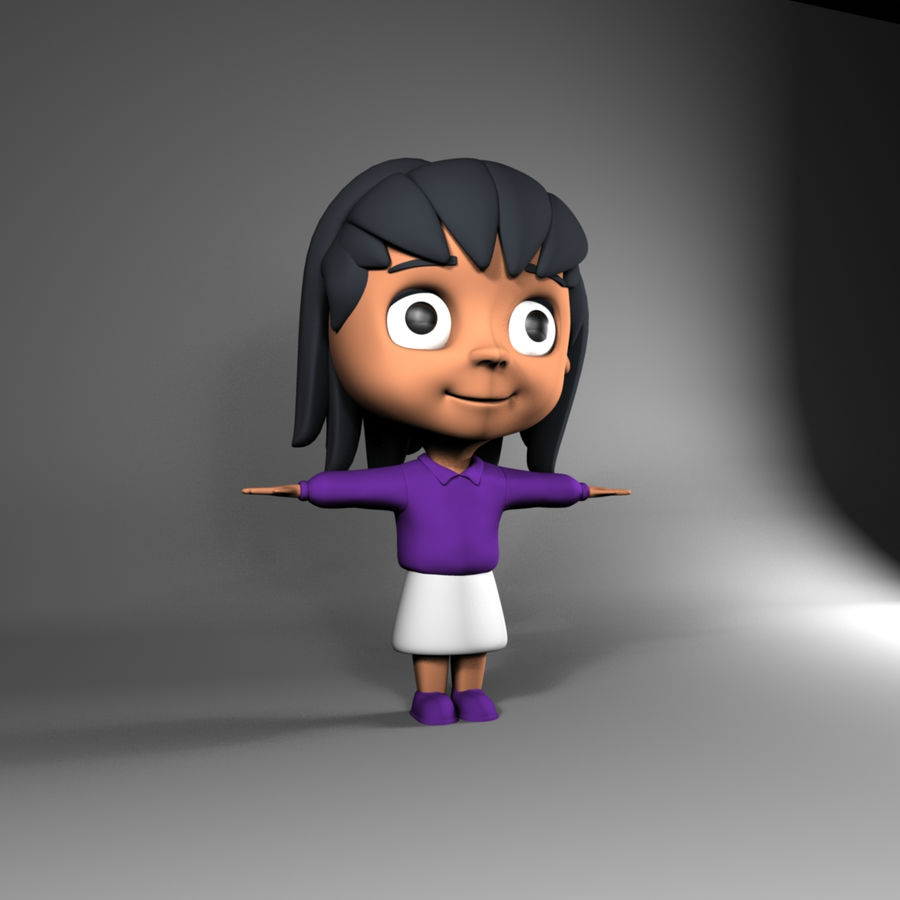 Cartoon cute little girl royalty-free 3d model - Preview no. 2