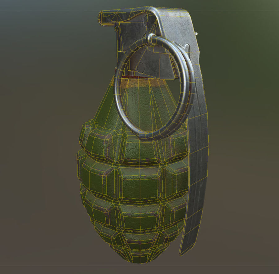 Grenade royalty-free 3d model - Preview no. 7