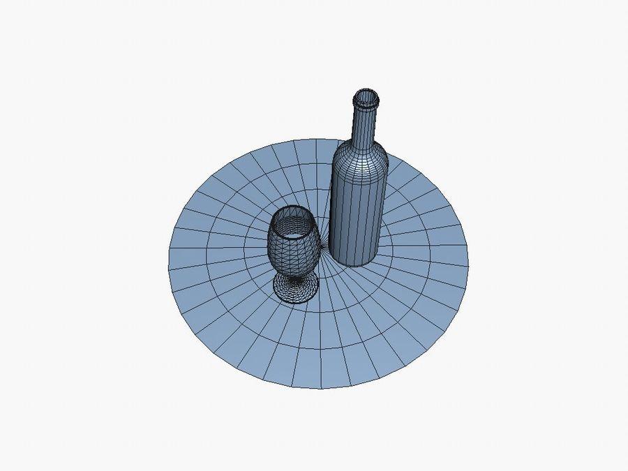 Garrafa de vinho e vidro royalty-free 3d model - Preview no. 7