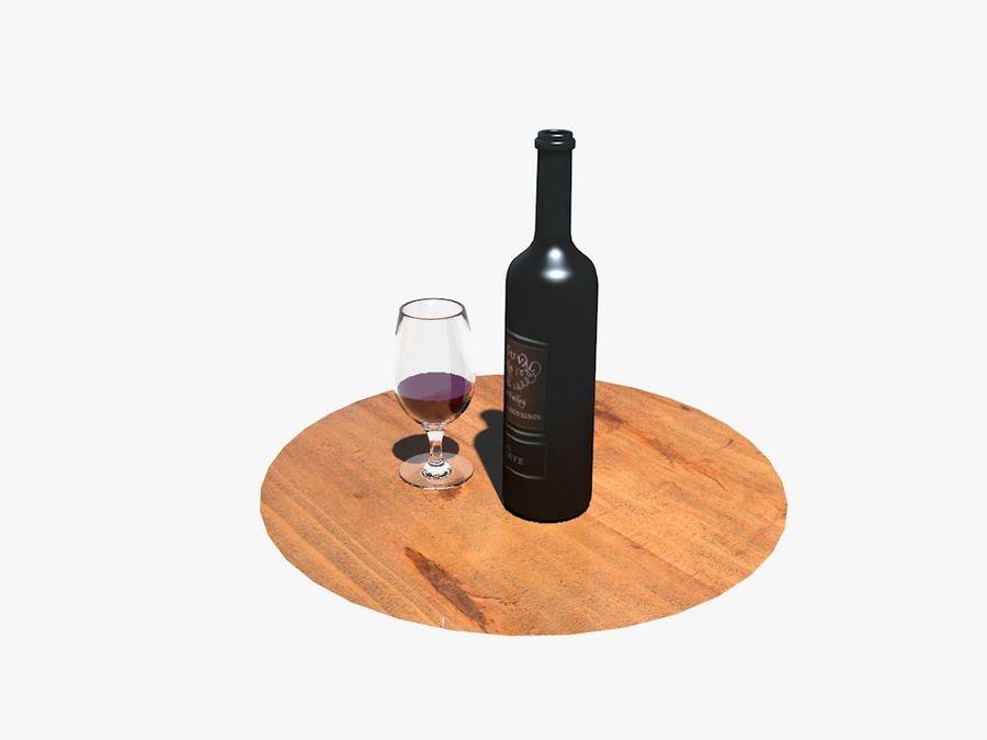 Garrafa de vinho e vidro royalty-free 3d model - Preview no. 2