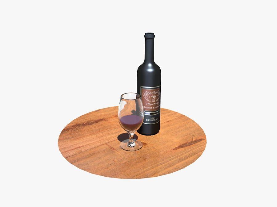 Garrafa de vinho e vidro royalty-free 3d model - Preview no. 3